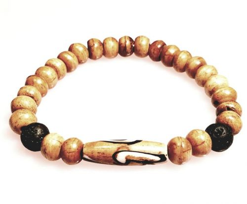 Beaded Bracelet with Bone and Lava