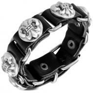 Leather Fleur De Lis Bracelet ON SALE!