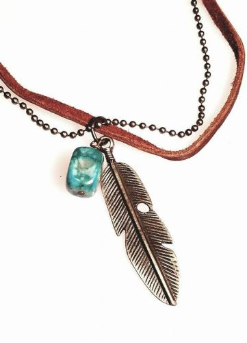 Feather Necklace with Jasper Accent Bead