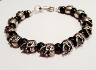 Black Onyx and Stainless Steel Skull Bracelet