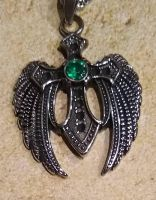 St. Michael Cross and Angel Wing Necklace
