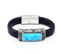 Leather and Howlite Bracelet