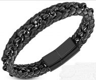 Black Leather Bracelet with Chain