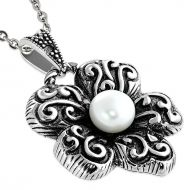 Antiqued Pearl Flower Necklace