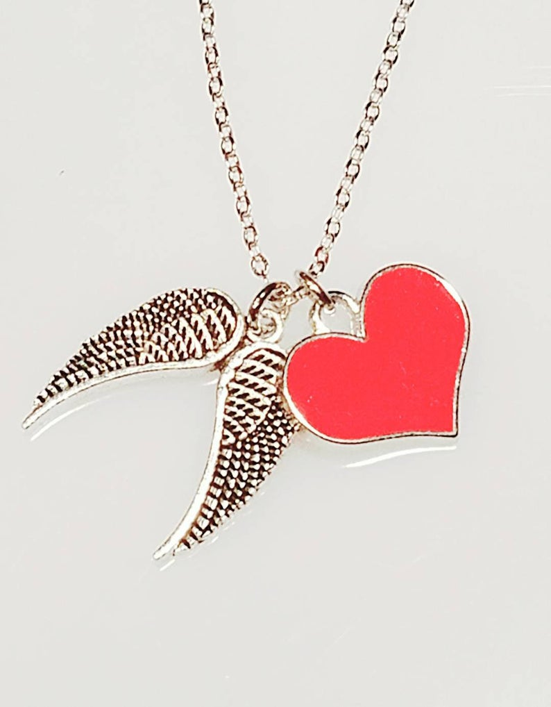Heart and Angel Wing Necklace